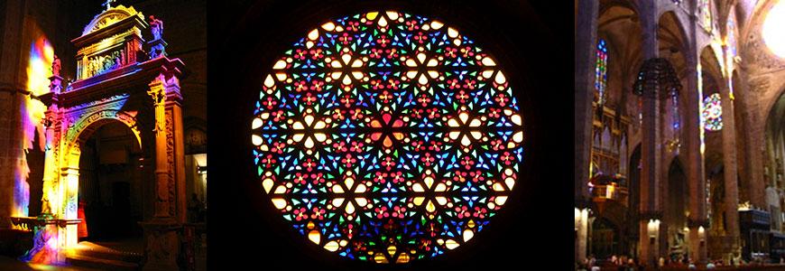 Catedral de Palma de Mallorca, vitrales, vidrieras.
